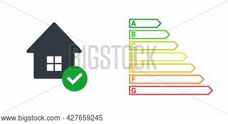 Energy Efficiency. Energy Efficient House With Check Mark. Green House Symbol With Energy Rating. Ve