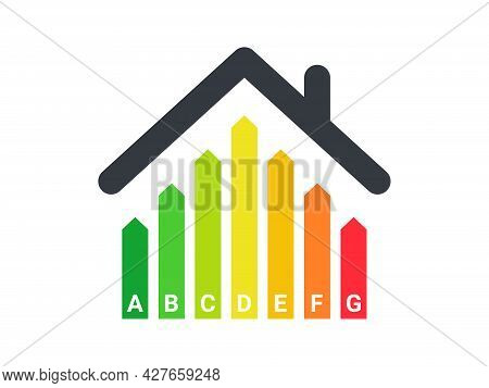 Energy Efficiency Rating. Energy Efficient House. Green House Symbol With Energy Rating. Vector Illu