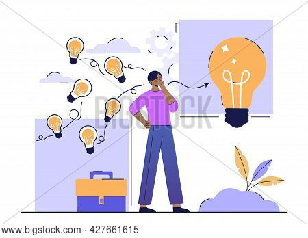 Gather Ideas Concept. Businessman With A Portfolio Collects Several Small Ideas Into One Big One. Pr