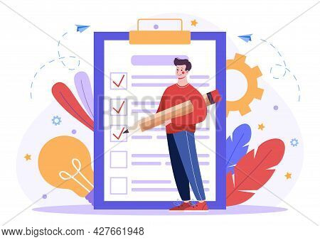 Concept Of Successful Task Completion. Man Against The Background Of A Large List Notes The Complete