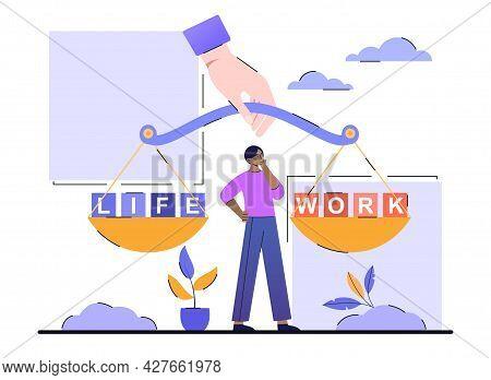 Work Life Balance Concept. Man Keep A Balance Between His Career And His Family. Time Selection And