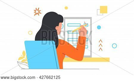 Checklist With Tasks Concept. Woman Sits At A Table And Puts A Check Mark On Her To Do List. Improvi