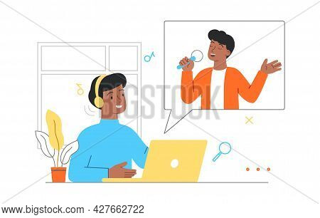 Online Music Entertainment Concept. Man With Headphones Sitting At Laptop And Listening To Good Musi
