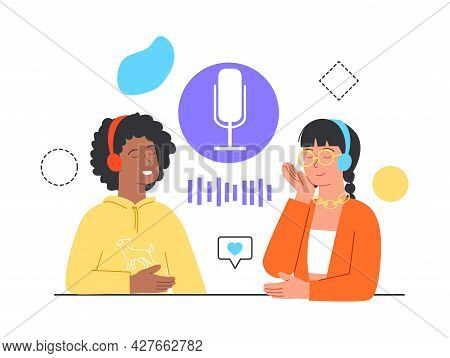 Podcast Content Concept. People Listening To Audio In Headphones, Podcast App On Smartphone, Podcast