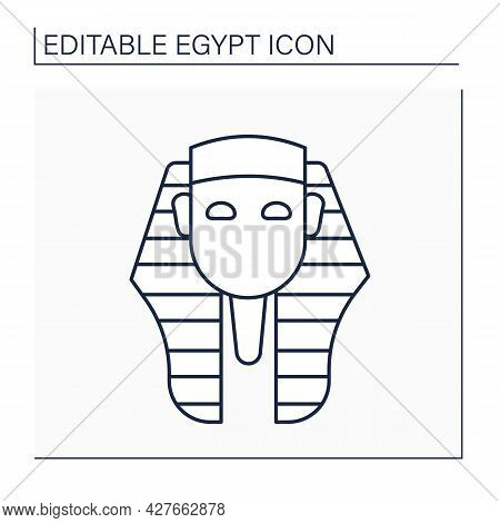 Pharaoh Line Icon. King Of Ancient Egypt Civilization. Royal Family. Uses Power Or Authority To Oppr