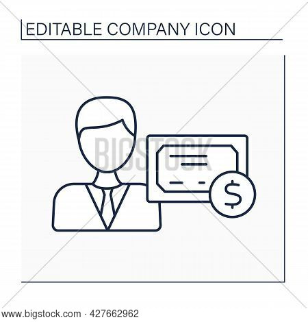 Shareholder Line Icon. Person Owns Minimum One Share Of Company Stock. Accepted Certificate. Company