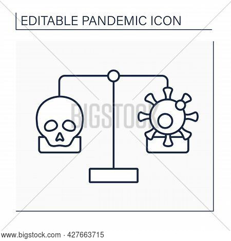 Mortality And Morbidity Line Icon. Specific Illness Or Condition. Number Of Deaths Due To Illness Or