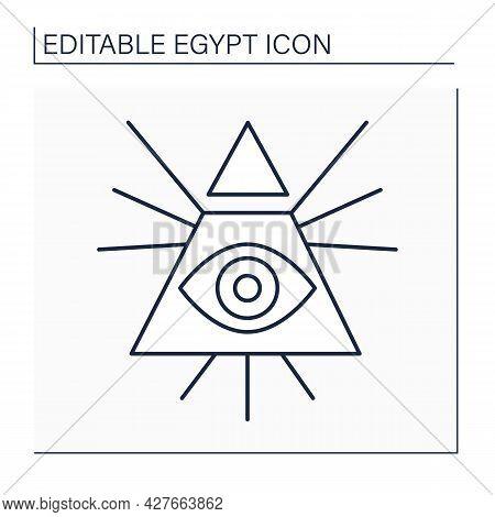Illuminati Line Icon. Eye Of Horus Symbol. Secret Society. Dominance Over Passions Through Education