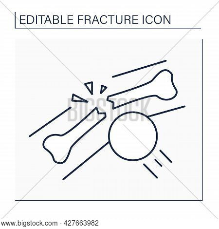 Impacted Fracture Line Icon. Transverse Fracture. Two Pieces Of Fractured Bone Driven Into Each Othe