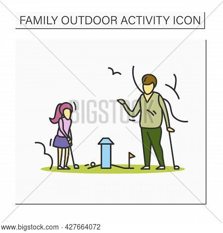 Miniature Golf Color Icon. Father And Daughter Playing Mini Golf Game In Park. Summer Outdoor Activi