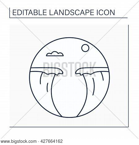 Chasm Line Icon.deep Cleft In Earth, Gorge. Narrow Opening In Rock. Landscape Concept.isolated Vecto