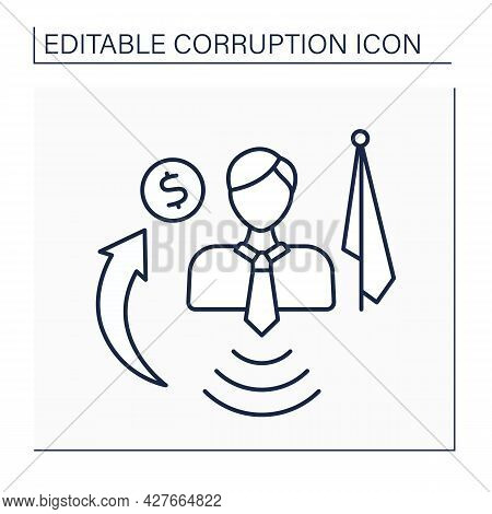 Graft Line Icon. Political Corruption. Unscrupulous Use Of Politician Authority For Personal Gain.po