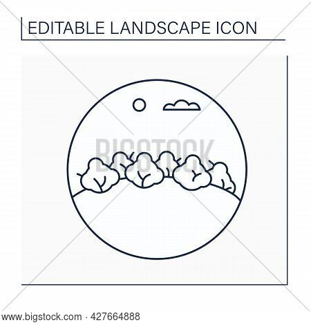 Wood Line Icon. Area Of Land, Smaller Than Forest With Growing Trees.landscape Concept.isolated Vect