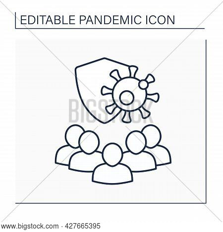 Herd Immunity Line Icon. Many People From The Community Have Immunity To Covid19 Disease. Protection