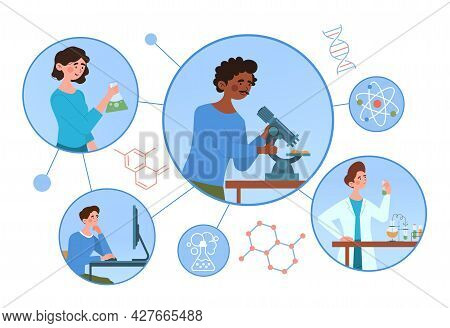 Chemical Laboratory Research Concept. Scientists With Flasks, Microscope And Computer Working On Ant