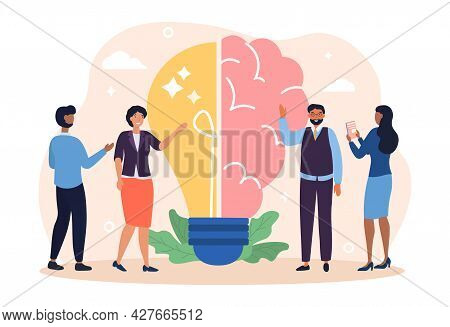 Creative Brain Concept. Brainstorming Process With Imagination And Genius Approach To Business. Half