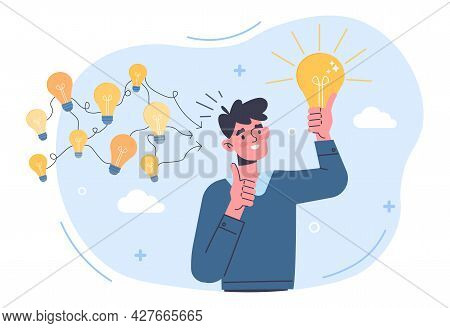 Gather Ideas Concept. Man Came Up With Several Ideas And Chose The Best One. Metaphor For Brainstorm
