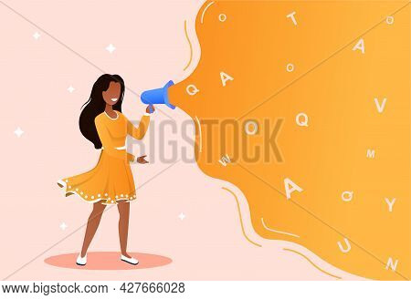 Advertising And Promotion Concept. Woman Cartoon Character Standing And Shouting In Loudspeaker Or M