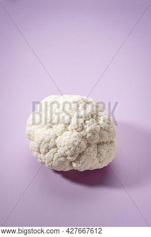 Cauliflower Isolated On Pink Background. Creative Design Of Cabbage Looks Like Human Brain. Minimal,