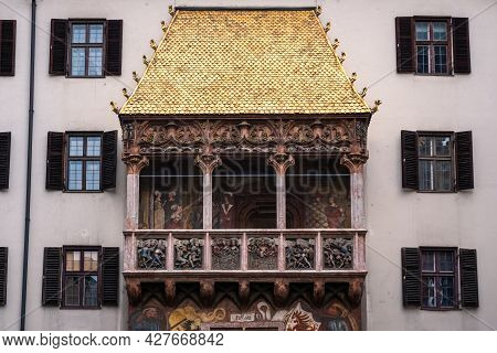 Goldenes Dachl Or Golden Roof In Innsbruck, Tyrol, Austria, A Late Gothic Alcove Balcony With Gilded