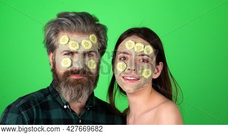 Funny Couple With Spa Mask, Beauty Concept Healthy Portrait. Mud Facial Mask, Face Clay Mask Spa. Ma