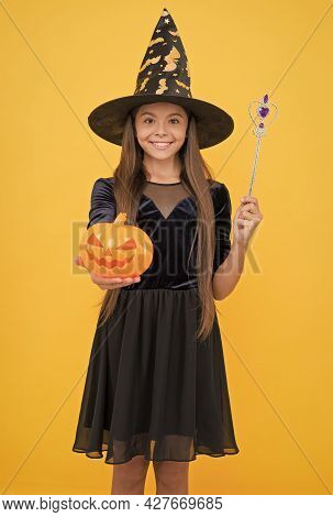 Witchcraft And Enchantment. Childhood Autumn Holiday. Teen Girl Ready To Celebrate. Costume Party Fu