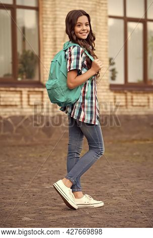 Educational School Trip. Little Child Carry Travel Bag Outdoors. Travel And Tourism Education. Schoo
