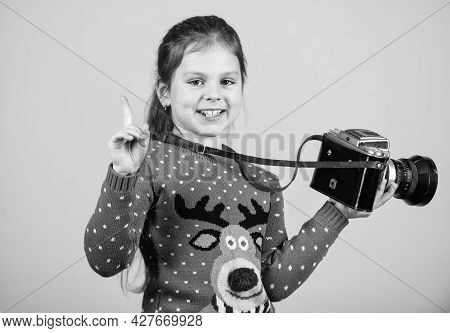 Photographer Hold Retro Camera. Classes For Kids. Learn To Take Photos With Dslr Camera. Photography