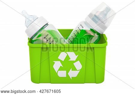 Recycling Trashcan With Baby Bottles, 3d Rendering Isolated On White Background