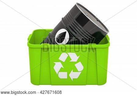Recycling Trashcan With Oil Barrel, 3d Rendering Isolated On White Background