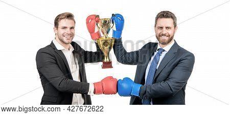 Business Achievement Award. Celebrating Success. Trophy And Prestige. Got Prize. Winning Deal.