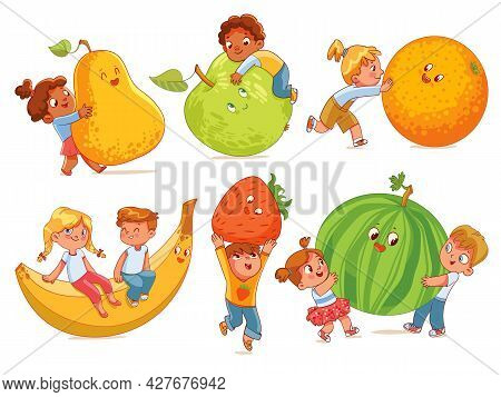 Small Children Holding Big Fruits. Colorful Cartoon Characters. Vector Illustration. Isolated On Whi