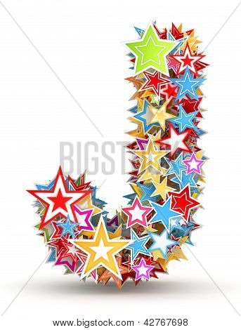 Letter Jfrom colored stars