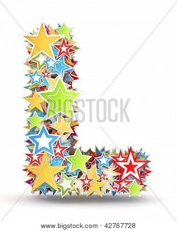 Letter L from colored stars
