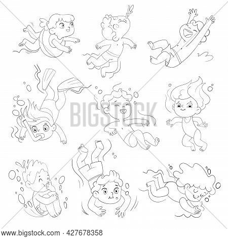 Children Snorkeling. Set. Funny Cartoon Character. Vector Illustration. Isolated On White Background