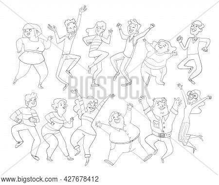 Dancing People. Group Of People Jumping Up With Raised Hands Men And Women Having Fun Or Celebrating