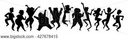Black Silhouettes Dancing People. Group Of People Jumping Up With Raised Hands, Men And Women Having