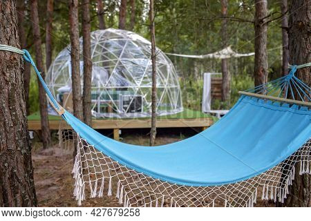 Transparent Bell Tent With Comfortable Bed And Pillow In Forest, Glamping Hotel, Luxury Travel, Glam