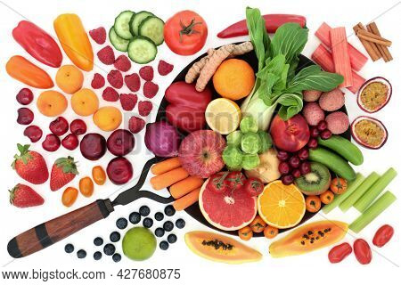 Healthy plant based fresh fruit and vegetables high in antioxidants that neutralise free radicals. Health food also high in dietary fibre, anthocyanins, vitamins, lycopene, minerals and carotenoids.