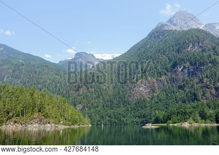 Spectacular Views Of Princess Louisa Inlet Within Jervis Inlet, With Giant Cliffs And Beautiful Gree