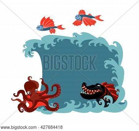 A Set Of Sea Creatures, Monsters, Flying Fish, Red Octopus, Black Dragon, A Space For Text On A Wave