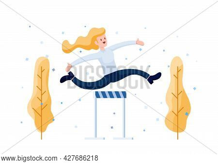 Happy Businesswoman Jumping Celebration Over Obstacle. Overcoming Obstacles And Career Achievement C