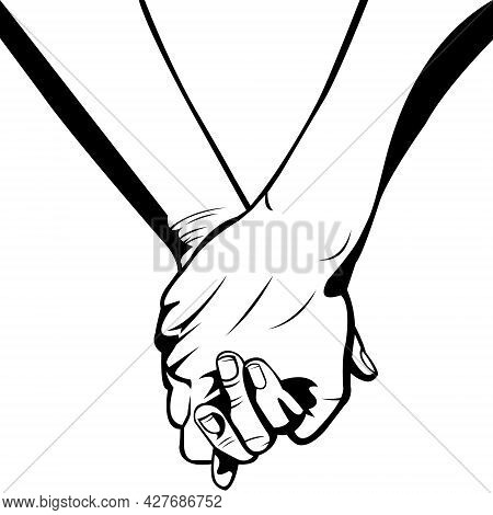 Two People Holding Hands. A Couple. A Friendship. Strong Bond. Close Friends. Happy Friendship Day.