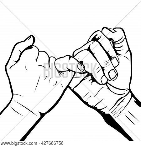 A Simple Black And White Vector Illustration Of Pinky Promise On White Background. An Agreement. A D