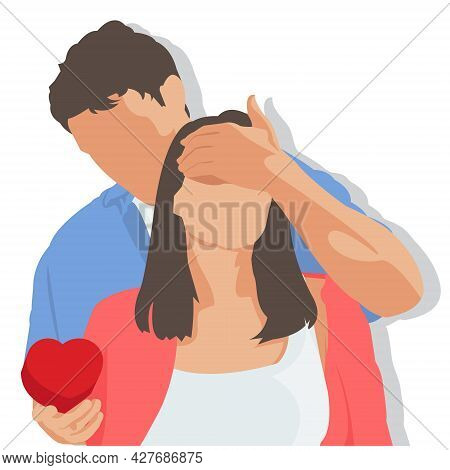 Simple Flat Illustration Of A Man Surprises His Girlfriend With A Heart Shaped Gift Box. Girlfriends
