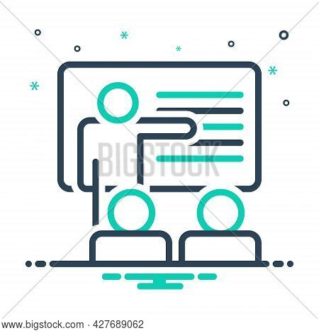 Mix Icon For Teaching Teach Coach Teacher Student Learn Education Lecture Trainer Presentation Black