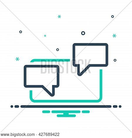 Mix Icon For Chat Chatting Messaging Laptop Technology Bubble Discussion Conversation Dialogue Notif