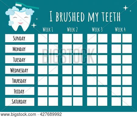 Teeth Brushing Chart. Incentive Sheet, Child Dental Poster. Hand Drawn Vector Lettering With Funny C