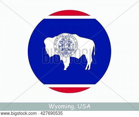Wyoming Round Circle Flag. Wy Usa State Circular Button Banner Icon. Wyoming United States Of Americ
