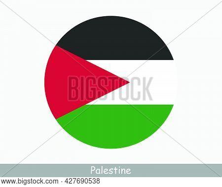 Palestine Round Circle Flag. Palestinian Circular Button Banner Icon. Eps Vector